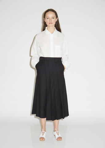 K-Pleats Cotton Wide Leg Pants