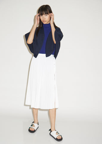 Cotton Poplin Pleated Skirt