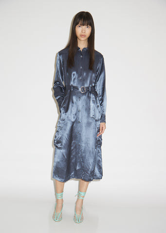 Lise Washed Satin Pocket Dress