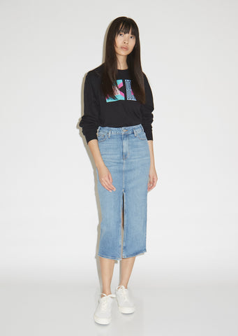 Slit Front Stretch Denim Skirt