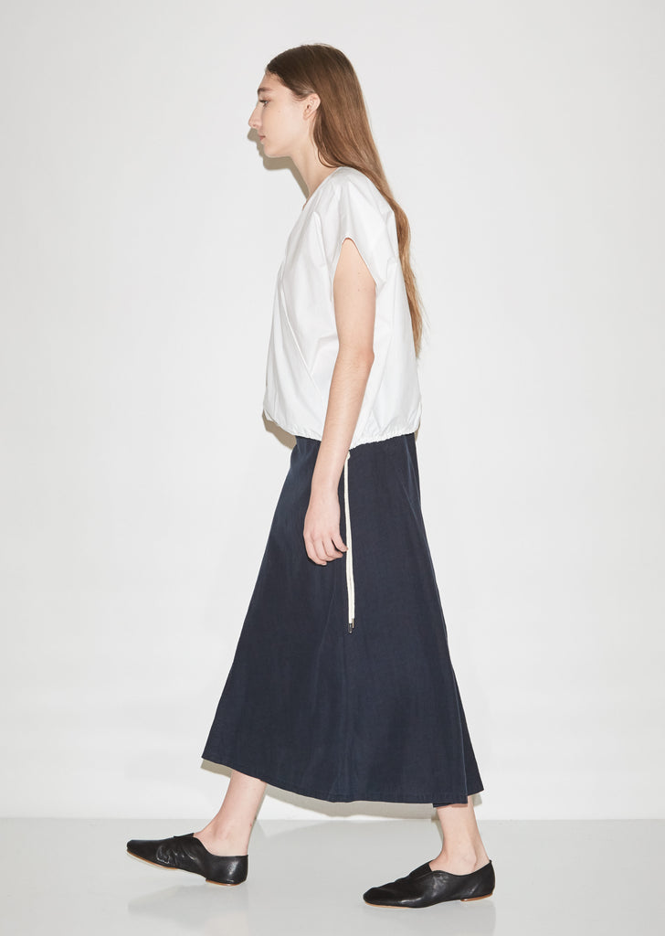 Diagonal Panel Flared Linen Skirt