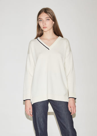 Cashmere V-Neck with Intarsia Tipping