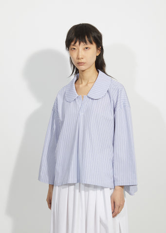 Cotton Broadcloth Stripe Blouse