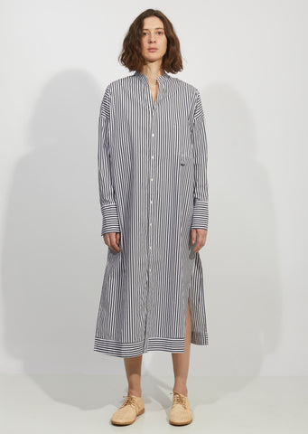 Cotton Poplin Stripe Shirt Dress