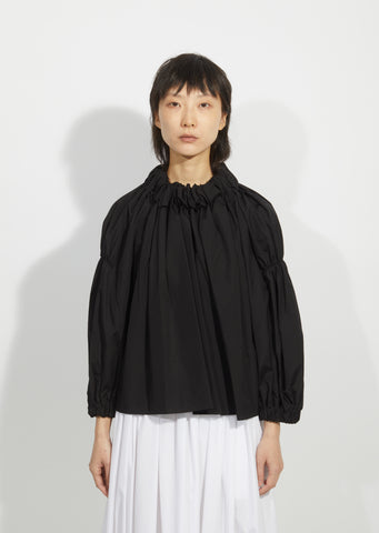 Cotton Broadcloth Ruched Blouse