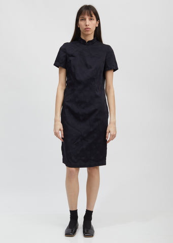 Dot Jacquard Mandarin Collar Dress