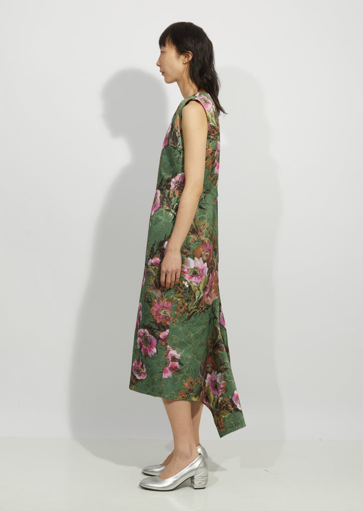 Lame Jacquard Flower Pattern Dress