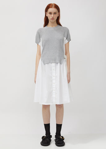 Cotton Knit Hybrid Shirtdress