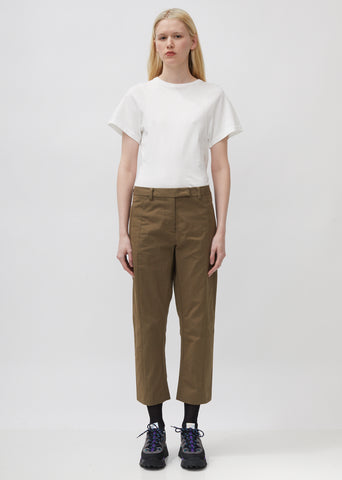 Cropped Seamed Twill Trouser