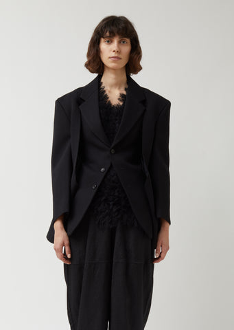 Wool Polyester Tweed Thick Gabardine Jacket