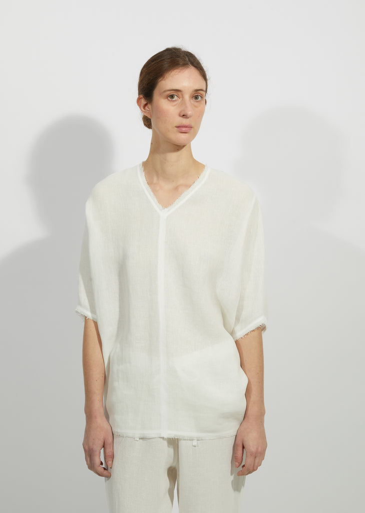 Linen Gauze V-Neck Top