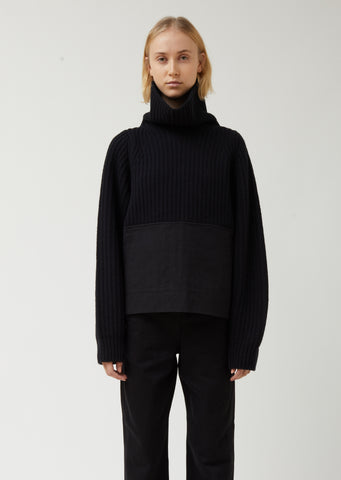 Turtleneck with Garment Dyed Panel