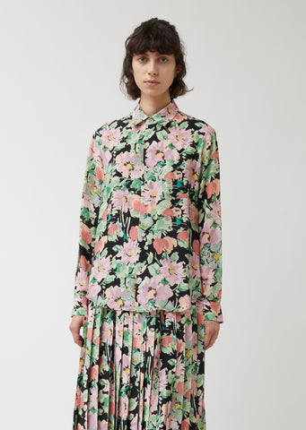 Silk Crepe de Chine Flower Pattern Shirt