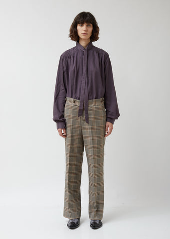 Graph Plaid Twill Side Tab Trouser