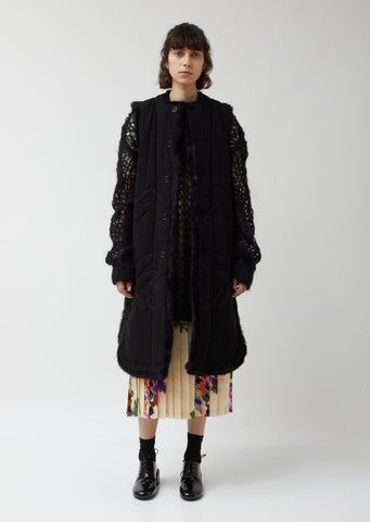 Georgette & Quilt Embroidery Vest Coat