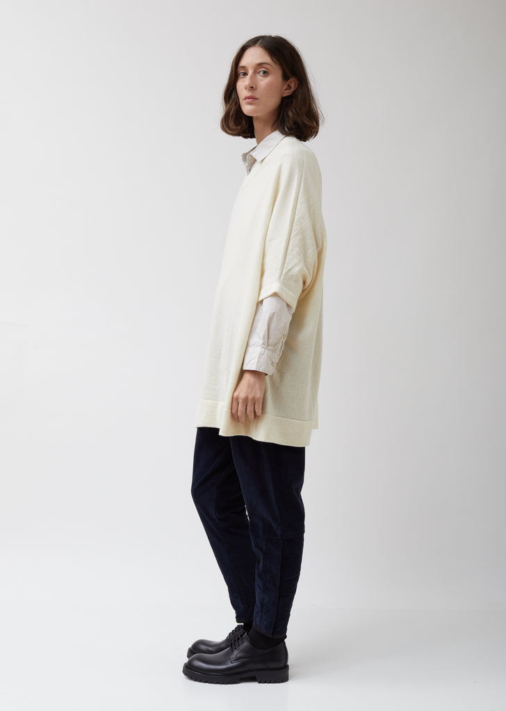 Wool V-Neck Pullover Top