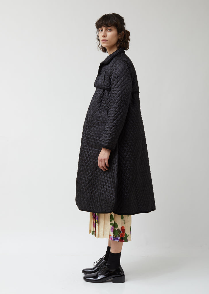 Houndstooth Polyester Satin Quilt Coat