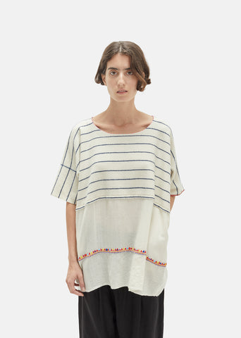 Striped Wool Embroidered Top