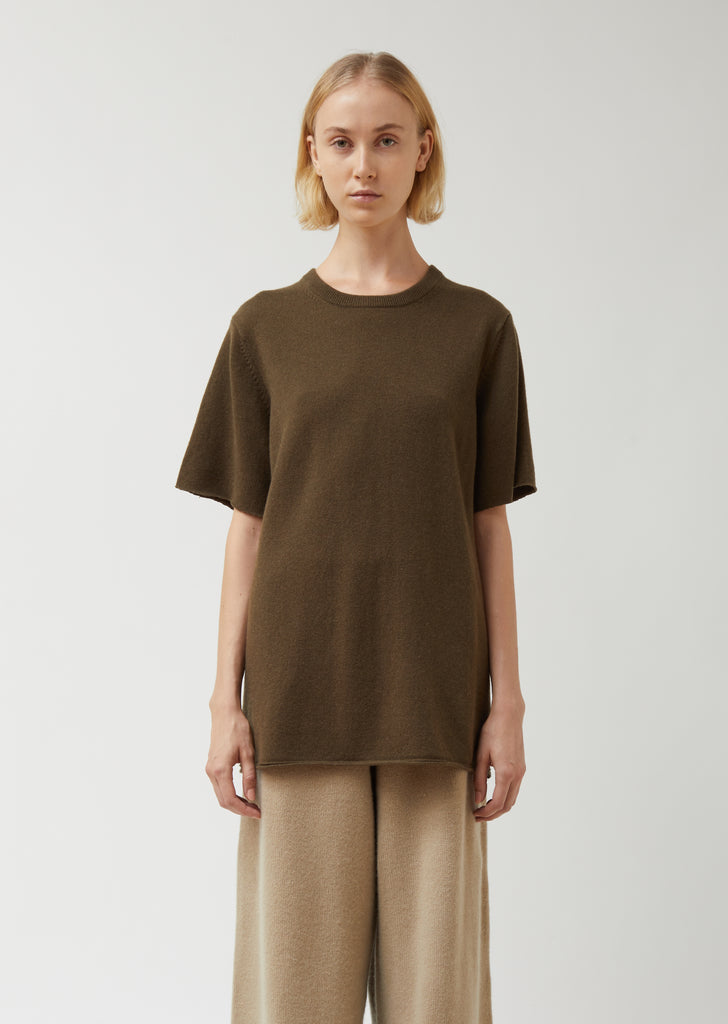 Classic Brown Cashmere Round Neck T-Shirt