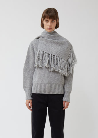 Wool Pullover with Scarf