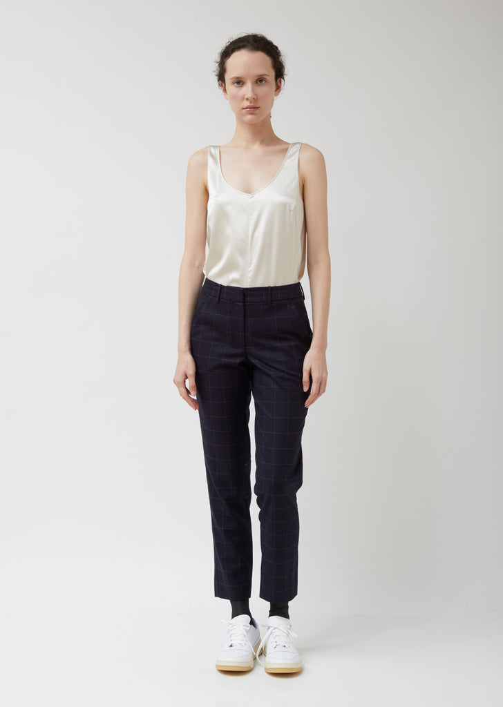 Navy Wool Relaxed Trouser