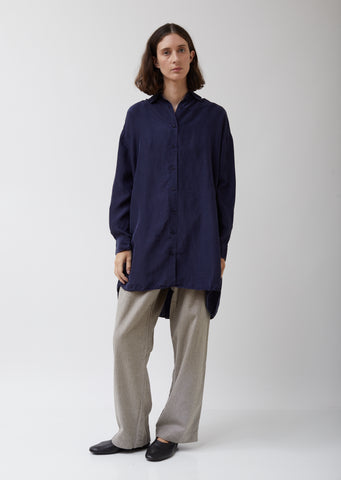 Dark Navy Christy Silk Shirt