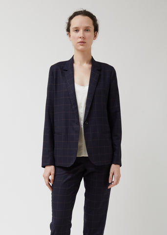 Navy Wool Windowpane Perfect Blazer