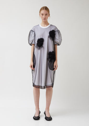 Ruched Flowers Puff Sleeves Tee Dress
