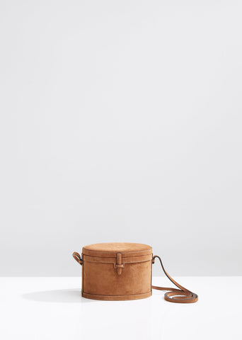 Suede Round Mini Trunk Bag