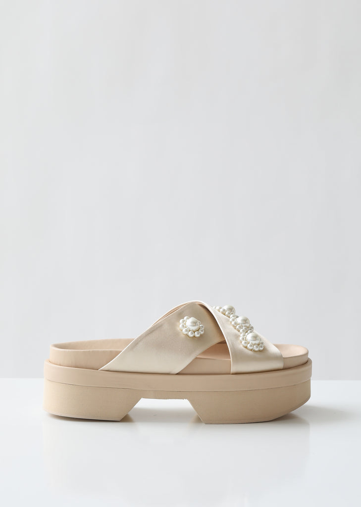 Beaded Satin Japanese Sole Sandals