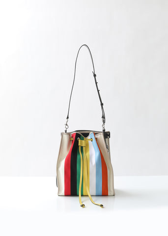 Striped Canvas Patchwork Drawstring Bag