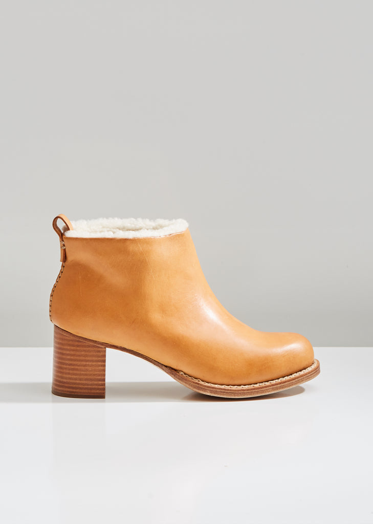 Braided Shearling Mid Heel Boots