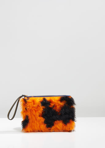 Leather and Lamb Fur Pochette