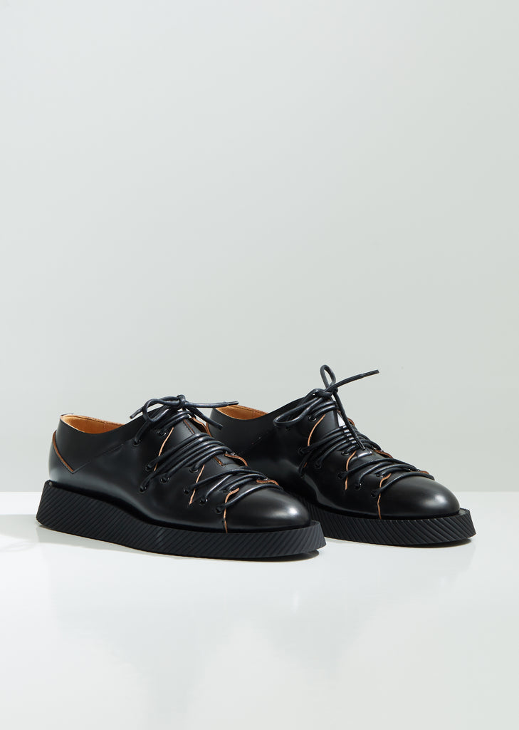 Leather Deconstructed Lace Up Oxfords