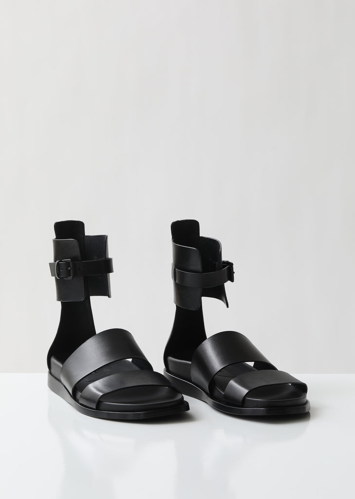 Belted Ankle Wrap Leather Sandals