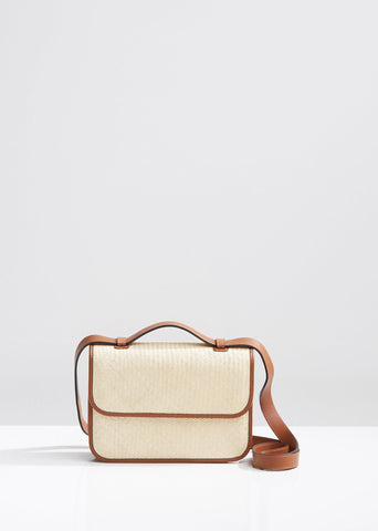Raffia and Leather Woven Crossbody Bag