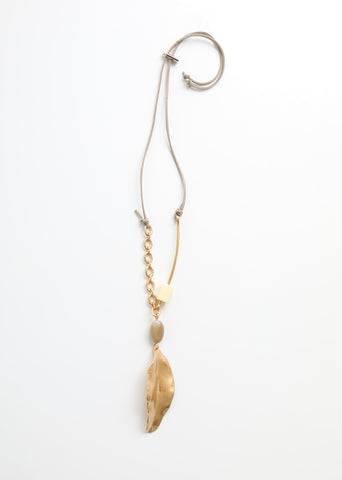 Metal and Leather Leaf Necklace