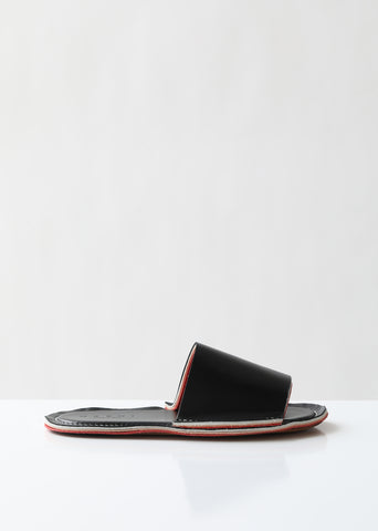 Layered Flat Leather Slides