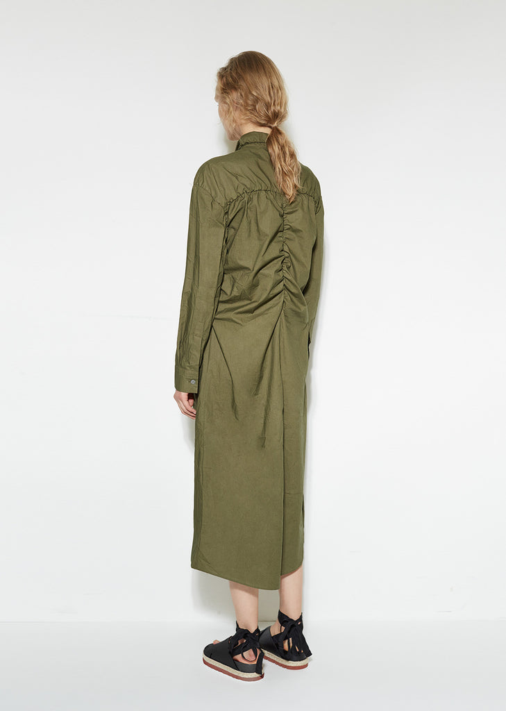 Ruched Cotton Shirtdress