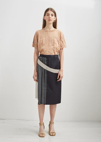 Technical Cotton Combo Skirt
