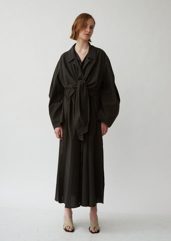 Crepon Cotton Knotted Trench Coat
