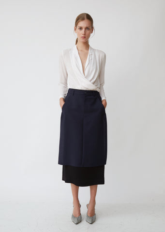 Wool Mohair & Viscose Satin Skirt