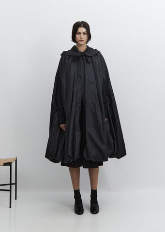 Long Taffeta Cape Coat
