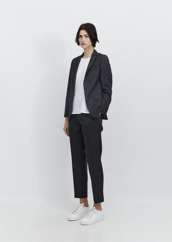 Vanessa Fresco Wool Blazer — Mid Grey