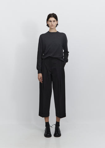 Deep Pleat Wool & Cotton Trouser
