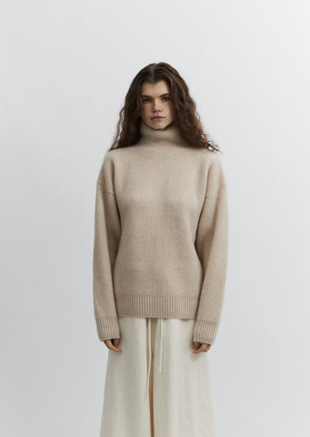 Double Rib Cashmere Turtleneck Sweater