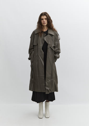 Vegan Leather Trench Coat — Khaki
