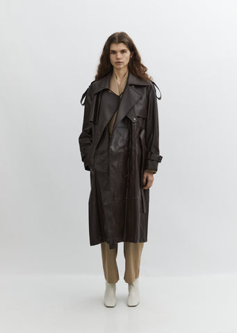 Vegan Leather Trench Coat — Brown