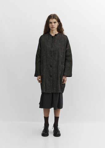 Collarless Patch Pocket Coat