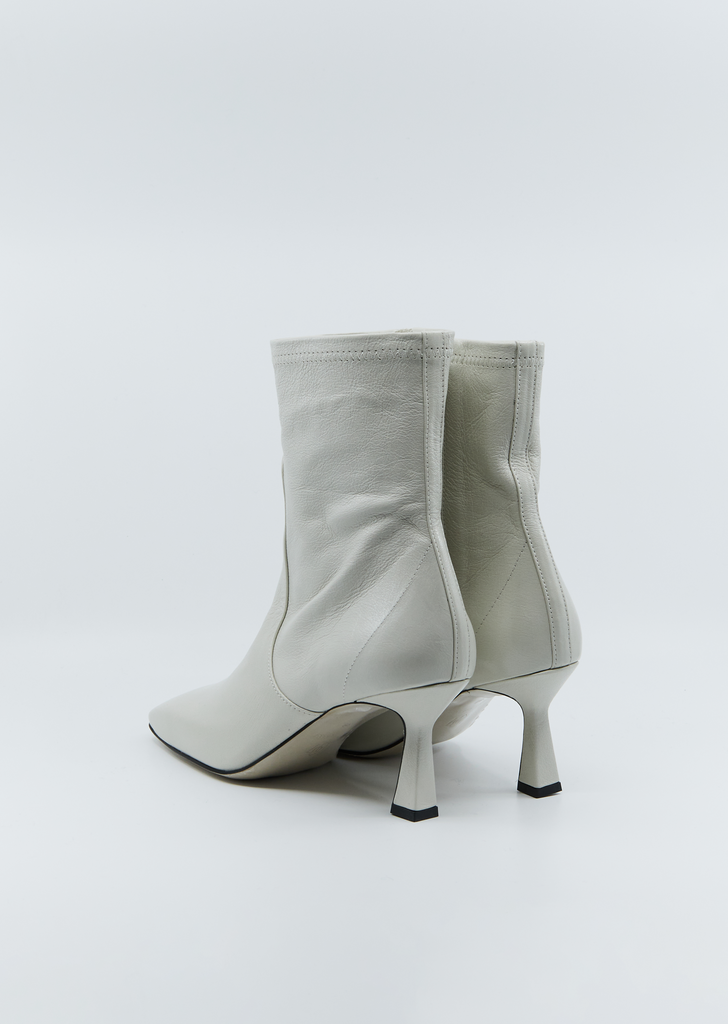 Mid-Heel Leather Stiletto Boots